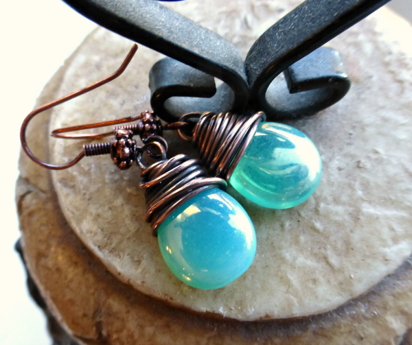 Teal green transparent Czech Picasso glass teardrop, copper wire wrapped earrings. -  - McKee Jewelry Designs - 2