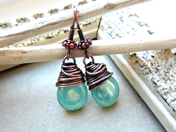 Teal green transparent Czech Picasso glass teardrop, copper wire wrapped earrings. -  - McKee Jewelry Designs - 3
