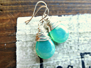 Teal green transparent Czech Picasso glass teardrop, sterling silver wire wrapped earrings. - Andria Bieber Designs, Earrings - Jewelry,  Andria Bieber Designs  - Andria Bieber Designs