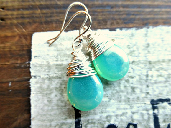 Teal green transparent Czech Picasso glass teardrop, sterling silver wire wrapped earrings. -  - McKee Jewelry Designs - 1