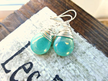 Load image into Gallery viewer, Teal green transparent Czech Picasso glass teardrop, sterling silver wire wrapped earrings. -  - McKee Jewelry Designs - 2