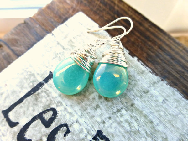 Teal green transparent Czech Picasso glass teardrop, sterling silver wire wrapped earrings. -  - McKee Jewelry Designs - 2