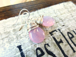 Pink transparent teardrop Czech Picasso glass, silver sterling earrings. - Andria Bieber Designs, Earrings - Jewelry,  McKee Jewelry Designs - Andria Bieber Designs