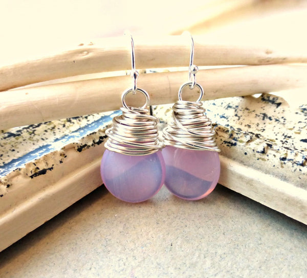 Pink transparent teardrop Czech Picasso glass, silver sterling earrings. -  - McKee Jewelry Designs - 3