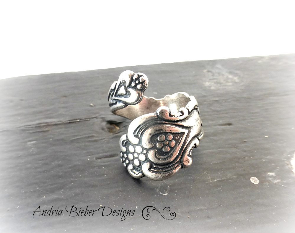 Spoon Ring.  Heart, flowers. Sterling silver ring, silver jewelry, bohemian fashion accessories. - Andria Bieber Designs, Ring - Jewelry,  McKee Jewelry Designs - Andria Bieber Designs