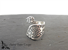 Load image into Gallery viewer, Spoon Ring. Flowers. Sterling silver ring, silver jewelry, bohemian fashion accessories. - Andria Bieber Designs, Ring - Jewelry,  Andria Bieber Designs  - Andria Bieber Designs