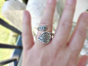 Spoon Ring. Flowers. Sterling silver ring, silver jewelry, bohemian fashion accessories. - Andria Bieber Designs, Ring - Jewelry,  Andria Bieber Designs  - Andria Bieber Designs