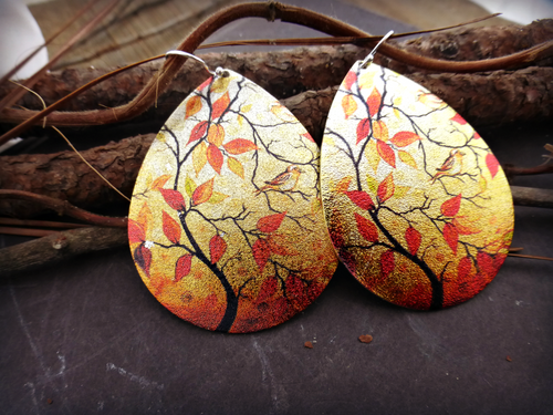 Fall scene earrings, sterling silver, orange, jewelry, Tree, nature, outdoor art scene. - Andria Bieber Designs, Earrings - Jewelry,  Andria Bieber Designs  - Andria Bieber Designs