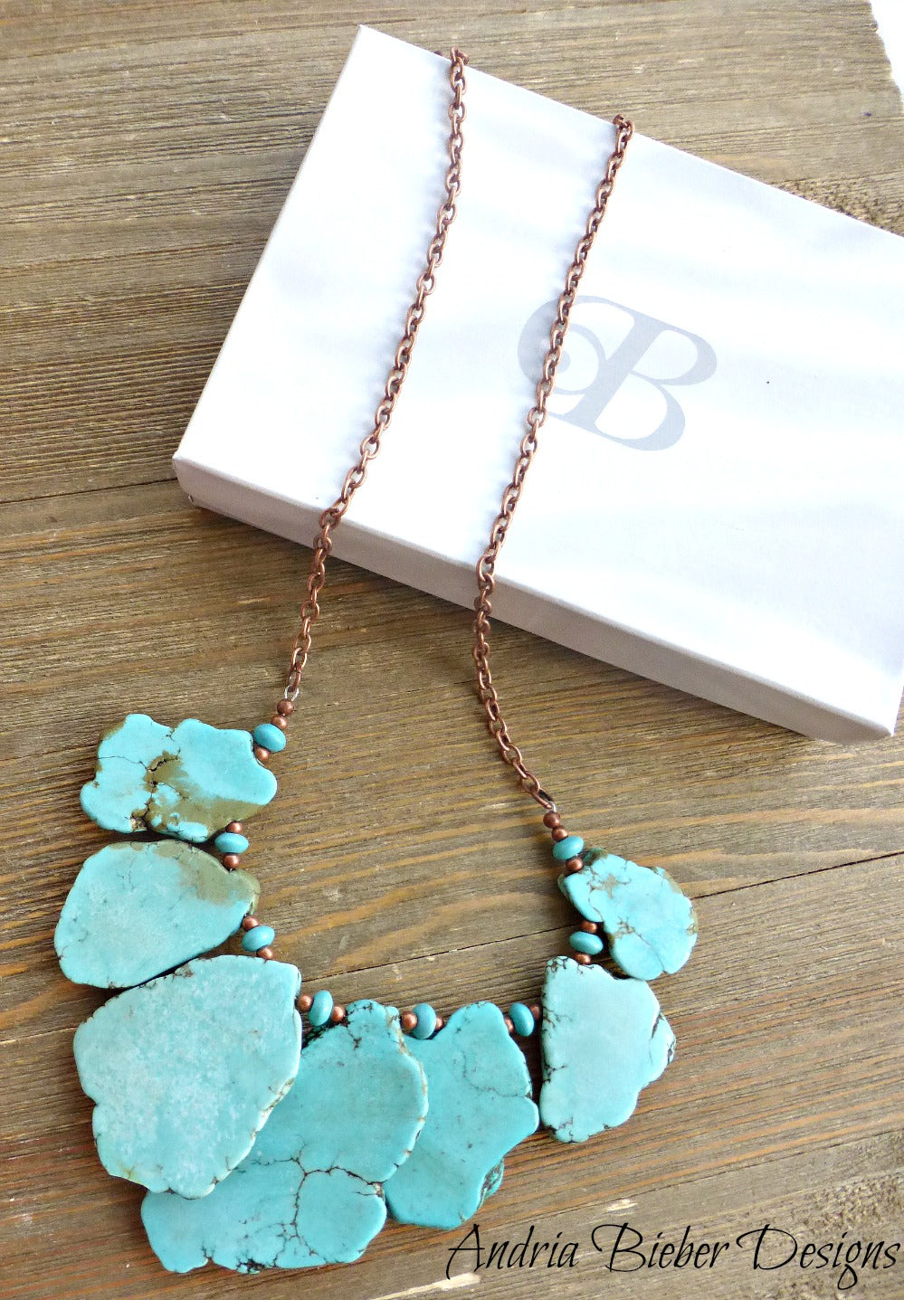 Turquoise howlite slab and beads chunky lightweight