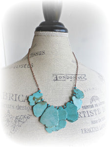 Turquoise howlite slab and beads, chunky lightweight necklace. Copper metal, stone. - Andria Bieber Designs, Necklace - Jewelry,  McKee Jewelry Designs - Andria Bieber Designs