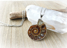 Load image into Gallery viewer, Ammonite shell stone silver frame pendant with silver chain necklace. - Andria Bieber Designs, Necklace - Jewelry,  Andria Bieber Designs  - Andria Bieber Designs
