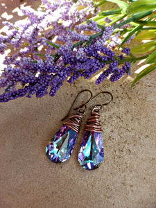Purple Swarovski crystal earrings with copper wire wrapping, french ear wire. - Andria Bieber Designs, Earrings - Jewelry,  Andria Bieber Designs  - Andria Bieber Designs