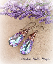 Load image into Gallery viewer, Purple Swarovski crystal earrings with copper wire wrapping, french ear wire. - Andria Bieber Designs, Earrings - Jewelry,  Andria Bieber Designs  - Andria Bieber Designs
