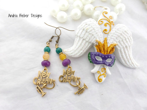 New Orleans. brass and stone earrings. Jazz, trumpet charms. - Andria Bieber Designs, Earrings - Jewelry,  Andria Bieber Designs  - Andria Bieber Designs