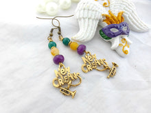 Load image into Gallery viewer, New Orleans. brass and stone earrings. Jazz, trumpet charms. - Andria Bieber Designs, Earrings - Jewelry,  Andria Bieber Designs  - Andria Bieber Designs