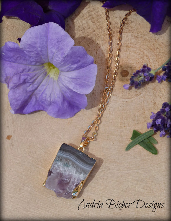 Gold dipped Amethyst druzy slice Necklace, Raw Amethyst, stone, gold chain, February birthstone, jewelry - Andria Bieber Designs, Necklace - Jewelry,  Andria Bieber Designs  - Andria Bieber Designs