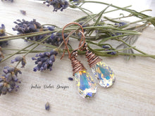 Load image into Gallery viewer, Copper Wire Wrapped, Swarovski Teardrop Crystal AB earrings. - Andria Bieber Designs, Earrings - Jewelry,  Andria Bieber Designs  - Andria Bieber Designs