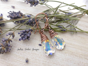 Copper Wire Wrapped, Swarovski Teardrop Crystal AB earrings. - Andria Bieber Designs, Earrings - Jewelry,  Andria Bieber Designs  - Andria Bieber Designs