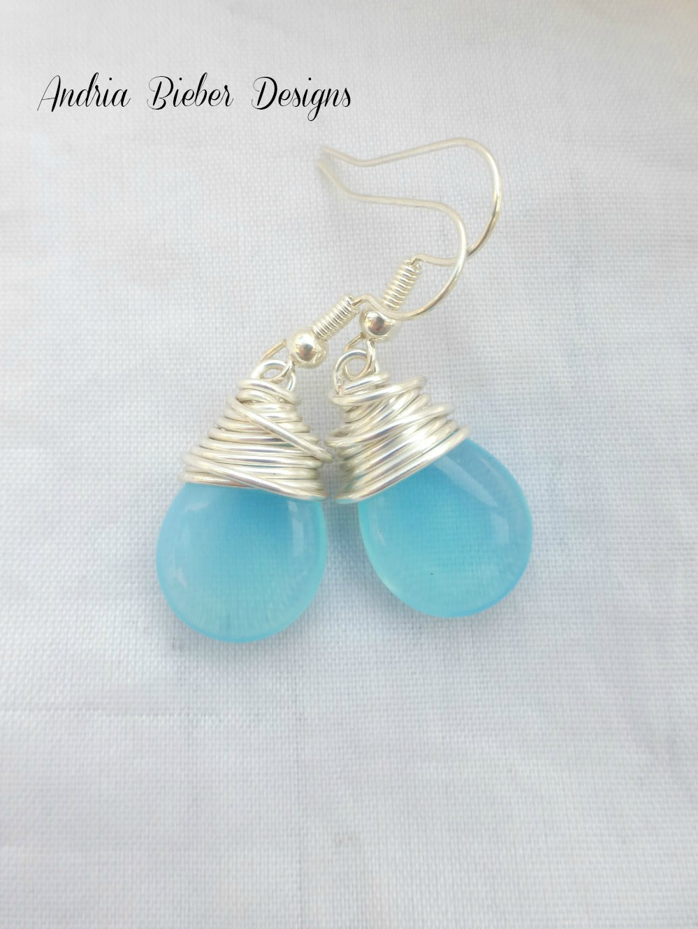Sky blue transparent teardrop Czech Picasso glass, silver wire wrapping, sterling silver earrings. - Andria Bieber Designs, Earrings - Jewelry,  Andria Bieber Designs  - Andria Bieber Designs