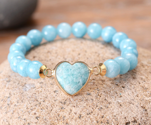 Light blue heart, Amazonite stone, stretch, yoga, bracelet, jewelry.