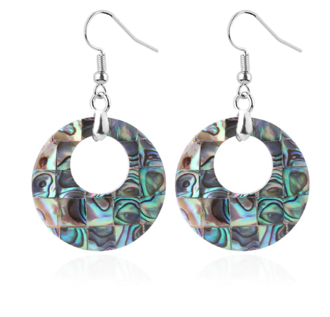 Abalone shell, hoops, mother of pearl, diamond pattern, sterling silver earrings. - Andria Bieber Designs, Earrings - Jewelry,  Andria Bieber Designs  - Andria Bieber Designs