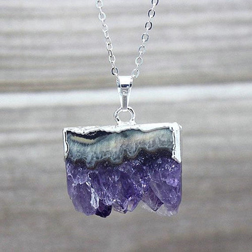 Amethyst gemstone pendant, silver dipped, Druzy amethyst, necklace,  jewelry - Andria Bieber Designs, Necklace - Jewelry,  Andria Bieber Designs  - Andria Bieber Designs