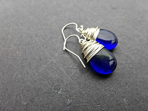 Dark blue Czech glass teardrop and silver wrapped earrings. Sterling silver small jewelry. - Andria Bieber Designs, Earrings - Jewelry,  Andria Bieber Designs  - Andria Bieber Designs