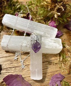 Amethyst stone, Selenite stone pendant  and star silver necklace. - Andria Bieber Designs, Necklace - Jewelry,  Andria Bieber Designs  - Andria Bieber Designs