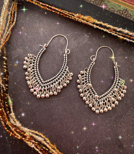 Sparkles. Silver boho dangle drop earrings, Boho, jewelry. - Andria Bieber Designs, Earrings - Jewelry,  Andria Bieber Designs  - Andria Bieber Designs