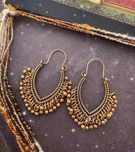Load image into Gallery viewer, Gold sparkles. Gold metal boho dangle drop earrings, Boho, jewelry. - Andria Bieber Designs, Earrings - Jewelry,  Andria Bieber Designs  - Andria Bieber Designs