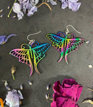 Load image into Gallery viewer, Rainbow moths. Rainbow metal moth charms and sterling silver earrings. - Andria Bieber Designs, Earrings - Jewelry,  Andria Bieber Designs  - Andria Bieber Designs