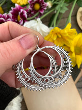 Load image into Gallery viewer, Dotted round hoop silver charms, sterling silver earrings