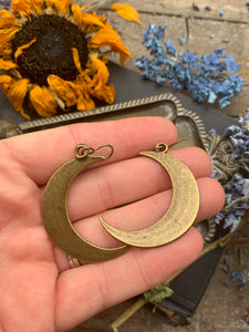 Moon earrings. Bronze metal  moon charm earrings. - Andria Bieber Designs