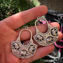 Load image into Gallery viewer, Elephant silver hoops, sterling silver earrings. Handmade jewelry