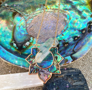 Abalone, mother of pearl, lotus flower, gold metal, necklace - Andria Bieber Designs, Necklace - Jewelry,  Andria Bieber Designs  - Andria Bieber Designs
