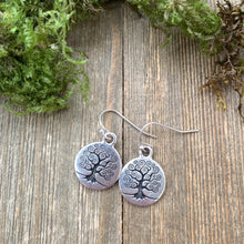 Load image into Gallery viewer, Sterling silver tree of life earrings. Round, small. Yoga, bohemain jewelry. - Andria Bieber Designs, Earrings - Jewelry,  Andria Bieber Designs  - Andria Bieber Designs