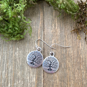 Sterling silver tree of life earrings. Round, small. Yoga, bohemain jewelry.
