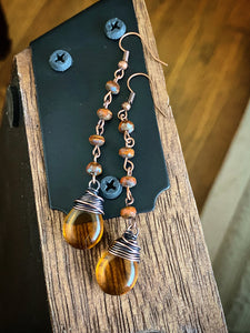 Amber  and orange Czech glass and copper wire wrapped earrings.