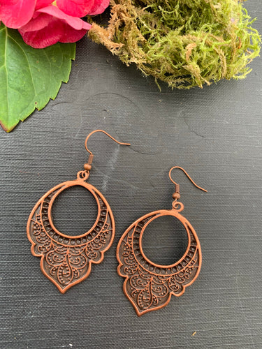 Flower Arabian drops, copper metal, earrings, jewelry.