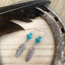 Load image into Gallery viewer, Feather charms in silver, blue turquoise stone and sterling silver earrings. - Andria Bieber Designs, Earrings - Jewelry,  Andria Bieber Designs  - Andria Bieber Designs