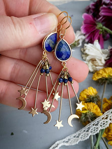 Moon and stars ⭐️ lapis lazuli stone and gold charm earrings, jewelry