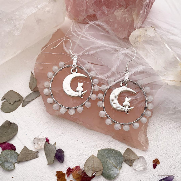 Genuine moonstone, moon and cat charms, sterling silver wire wrapped hoop earrings. - Andria Bieber Designs, Earrings - Jewelry,  McKee Jewelry Designs - Andria Bieber Designs