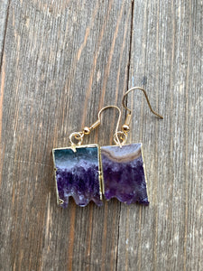 Gold dipped Amethyst druzy slice, Raw, stone, earrings. Gold ear wires, February birthstone, jewelry - Andria Bieber Designs, Earrings - Jewelry,  Andria Bieber Designs  - Andria Bieber Designs