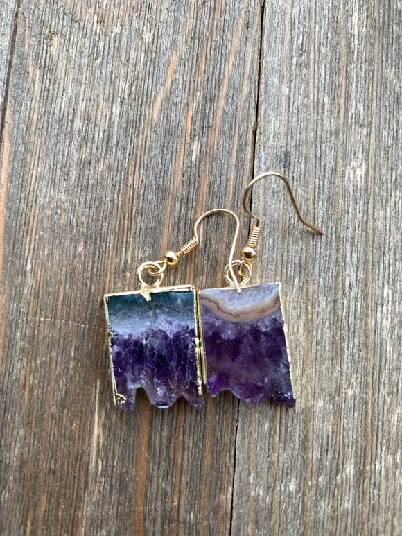 Gold dipped Amethyst druzy slice, Raw, stone, earrings. Gold ear wires, February birthstone, jewelry - Andria Bieber Designs, Earrings - Jewelry,  McKee Jewelry Designs - Andria Bieber Designs