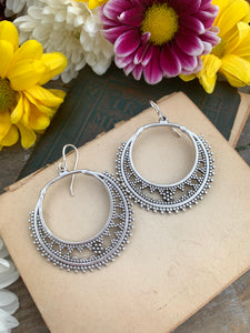 Dotted round hoop silver charms, sterling silver earrings