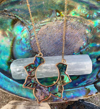 Load image into Gallery viewer, Abalone, mother of pearl, lotus flower, gold metal, necklace - Andria Bieber Designs, Necklace - Jewelry,  Andria Bieber Designs  - Andria Bieber Designs