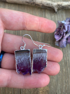 Amethyst gemstone pendants, silver dipped, Druzy amethyst, sterling silver earrings - Andria Bieber Designs, Earrings - Jewelry,  Andria Bieber Designs  - Andria Bieber Designs