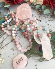 Load image into Gallery viewer, Rose quartz stone pendant, 108 beads, knotted, Rhodonite, Amazonite, mala necklace, jasper stone, jewelry