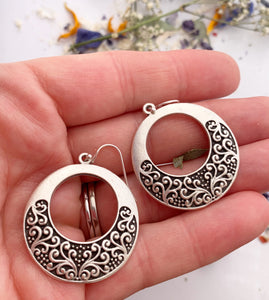 Filigree hearts. Sterling silver hoop earrings, jewelry. - Andria Bieber Designs, Earrings - Jewelry,  Andria Bieber Designs  - Andria Bieber Designs