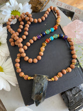 Load image into Gallery viewer, Labradorite Double Point Pendant, hand knotted, 108 bead, wood beads, mala prayer necklace, jewelry